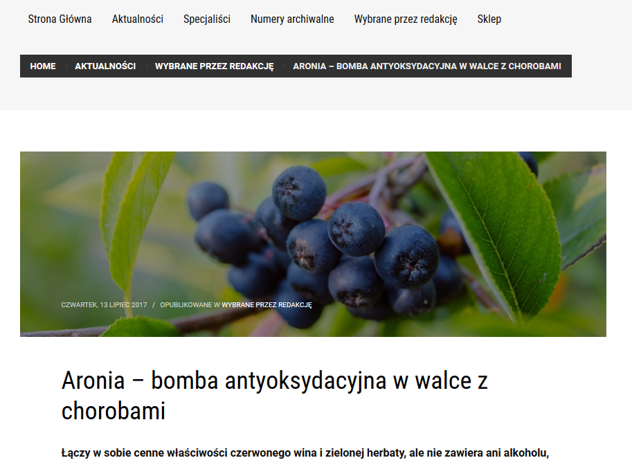 Aronia – bomba antyoksydacyjna w walce z chorobami